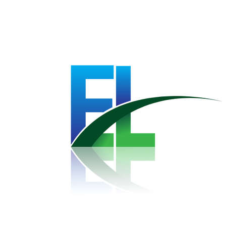 initial letter EL company name colored blue and green swoosh design. vector for business and company identity.