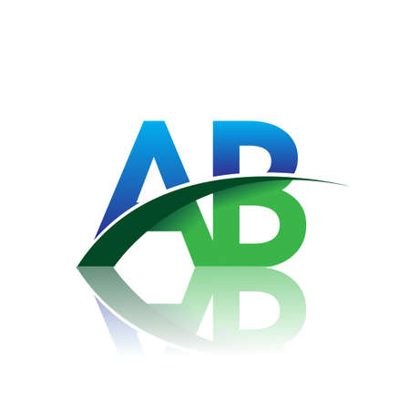 initial letter AB company name colored blue and green swoosh design. vector for business and company identity. Çizim