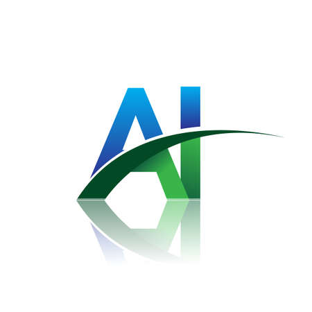 initial letter AI company name colored blue and green swoosh design. vector for business and company identity.