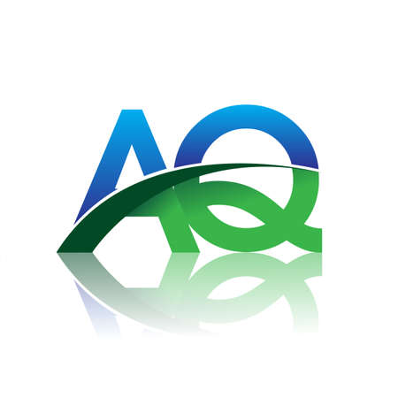 initial letter AQ company name colored blue and green swoosh design. vector for business and company identity.