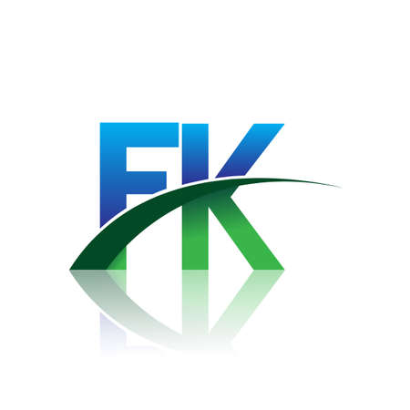 initial letter FK company name colored blue and green swoosh design. vector for business and company identity.