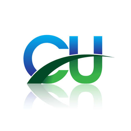 initial letter CU company name colored blue and green swoosh design. vector for business and company identity. Çizim