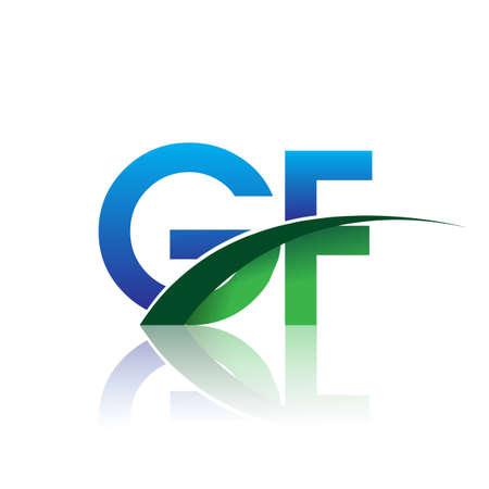 initial letter GF company name colored blue and green swoosh design. vector for business and company identity.
