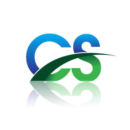 initial letter CS company name colored blue and green swoosh design. vector for business and company identity. Çizim