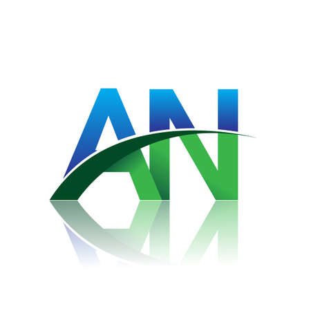 initial letter AN company name colored blue and green swoosh design. vector for business and company identity.