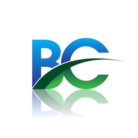initial letter BC company name colored blue and green swoosh design. vector for business and company identity.