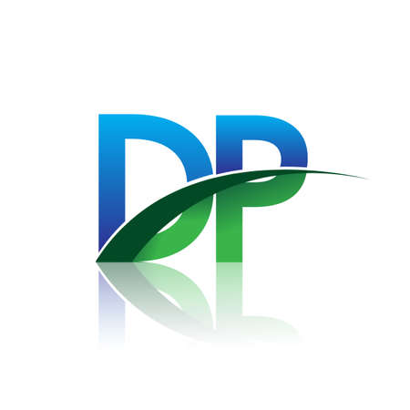 initial letter DP company name colored blue and green swoosh design. vector for business and company identity. Çizim