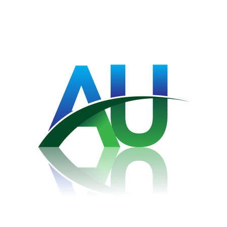 initial letter AU company name colored blue and green swoosh design. vector for business and company identity. Çizim