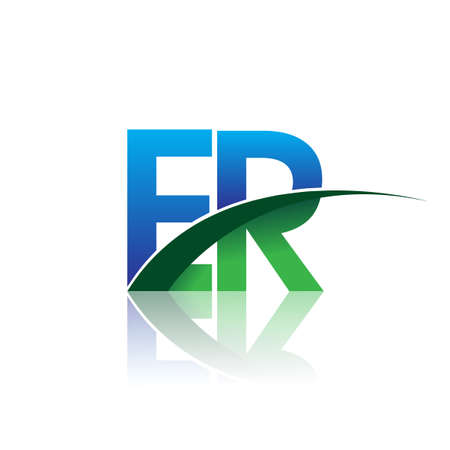 initial letter ER company name colored blue and green swoosh design. vector for business and company identity.