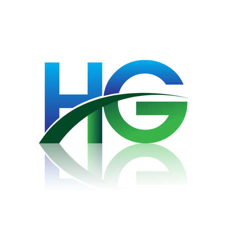 initial letter HG logotype company name colored blue and green swoosh design. vector logo for business and company identity.