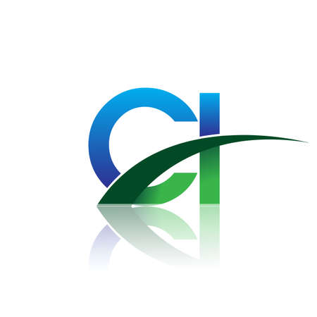 initial letter CI logotype company name colored blue and green swoosh design. vector logo for business and company identity.