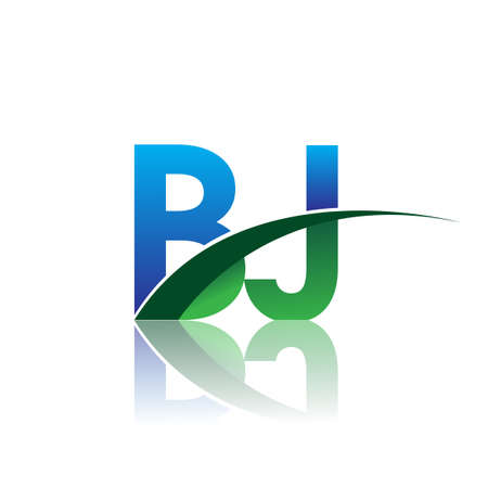 initial letter BJ logotype company name colored blue and green swoosh design. vector logo for business and company identity. Logó