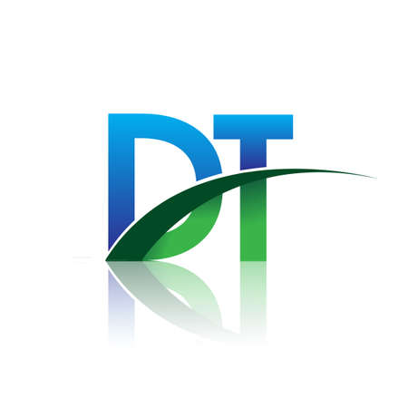 initial letter DT logotype company name colored blue and green swoosh design. vector logo for business and company identity.