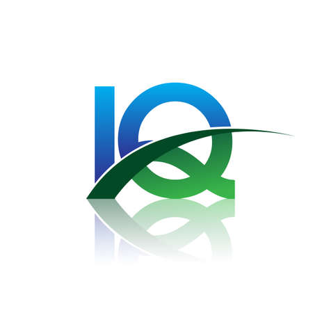 initial letter IQ company name colored blue and green swoosh design. vector for business and company identity.