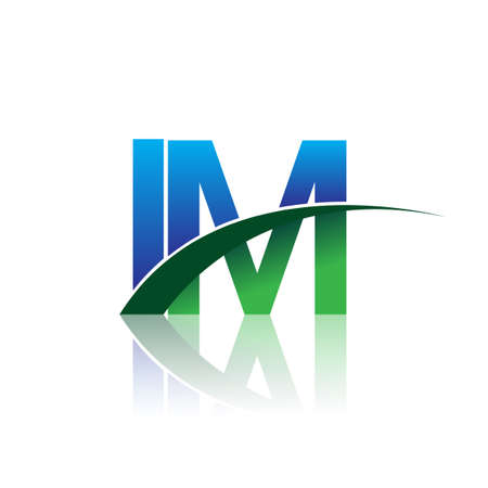 initial letter IM company name colored blue and green swoosh design. vector for business and company identity.