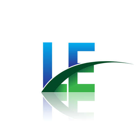 initial letter LE company name colored blue and green swoosh design. vector for business and company identity.
