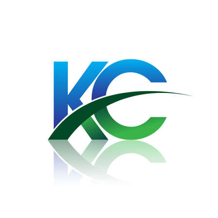 initial letter KC company name colored blue and green swoosh design. vector for business and company identity.