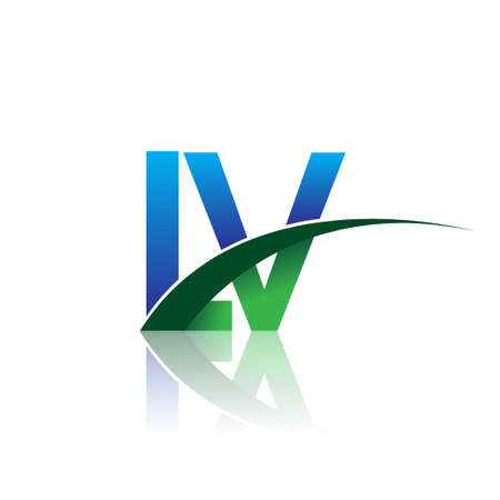 initial letter LV company name colored blue and green swoosh design. vector for business and company identity.