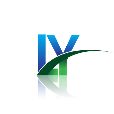 initial letter LY company name colored blue and green swoosh design. vector for business and company identity.