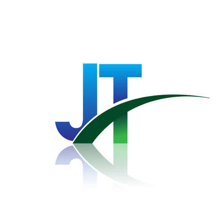 initial letter JT company name colored blue and green swoosh design. vector for business and company identity.