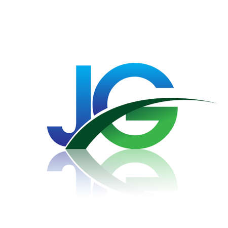 initial letter JG company name colored blue and green swoosh design. vector for business and company identity.