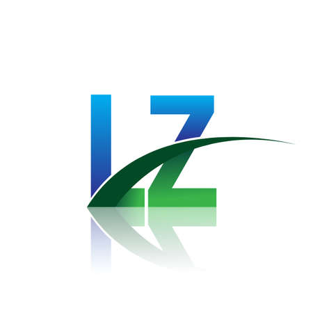 initial letter LZ company name colored blue and green swoosh design. vector for business and company identity.