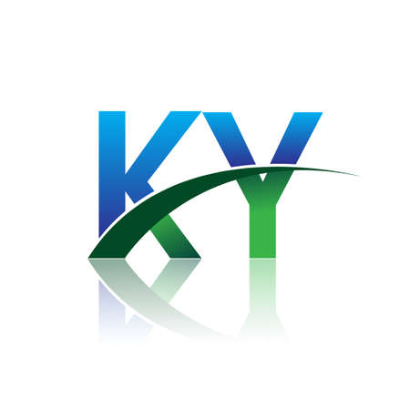 initial letter KY company name colored blue and green swoosh design. vector for business and company identity.