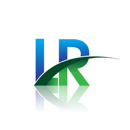 initial letter LR company name colored blue and green swoosh design. vector for business and company identity. Çizim