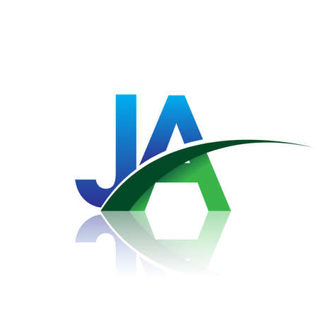 initial letter JA company name colored blue and green swoosh design. vector for business and company identity.