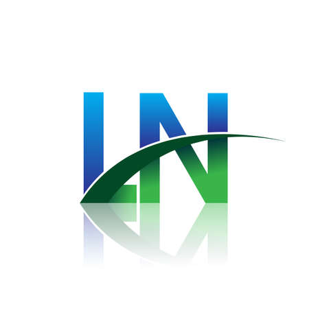 initial letter LN company name colored blue and green swoosh design. vector for business and company identity.