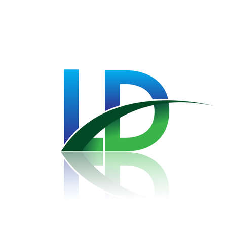 initial letter LD company name colored blue and green swoosh design. vector for business and company identity.