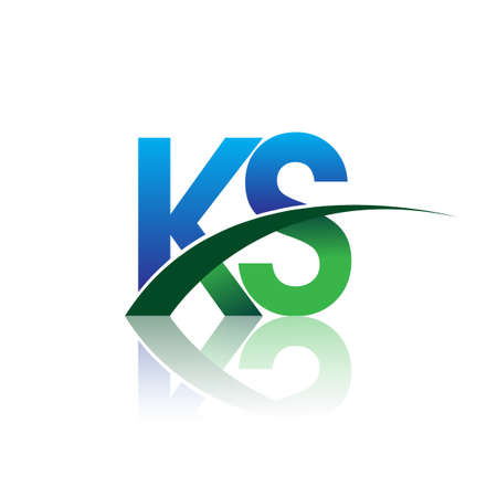 initial letter KS company name colored blue and green swoosh design. vector for business and company identity. Çizim