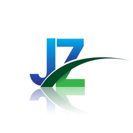 initial letter JZ company name colored blue and green swoosh design. vector for business and company identity.