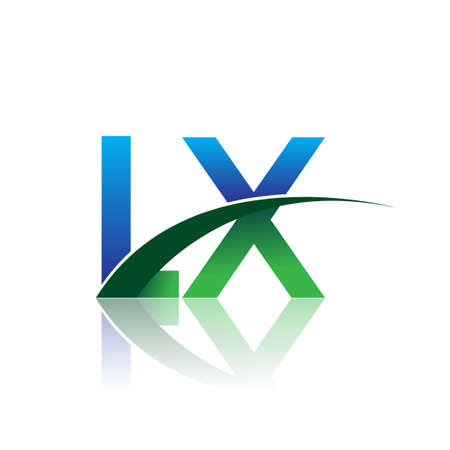 initial letter LX company name colored blue and green swoosh design. vector for business and company identity.