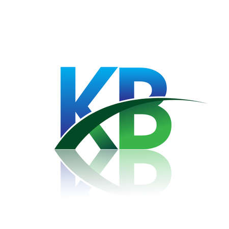 initial letter KB company name colored blue and green swoosh design. vector for business and company identity.