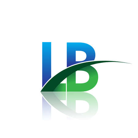 initial letter LB company name colored blue and green swoosh design. vector for business and company identity.
