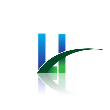 initial letter LI company name colored blue and green swoosh design. vector for business and company identity.