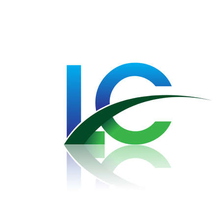 initial letter LC company name colored blue and green swoosh design. vector for business and company identity. Çizim