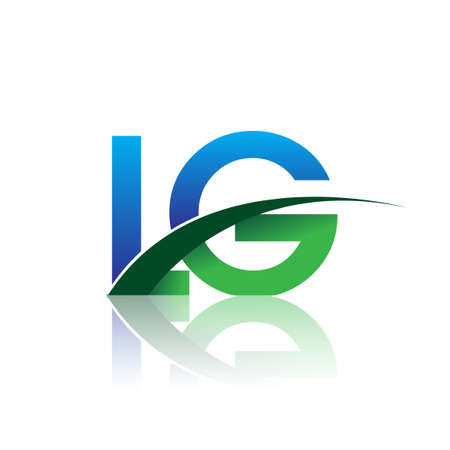 initial letter LG company name colored blue and green swoosh design. vector for business and company identity. Çizim