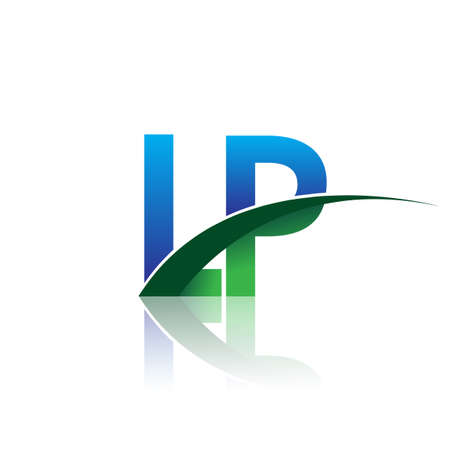 initial letter LP company name colored blue and green swoosh design. vector for business and company identity. Çizim