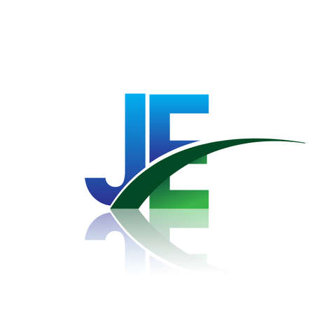 initial letter JE company name colored blue and green swoosh design. vector for business and company identity.