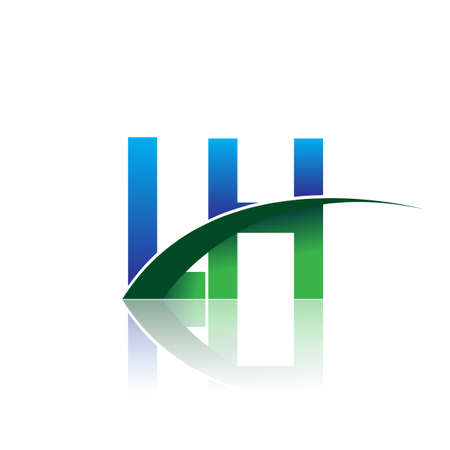 initial letter LH company name colored blue and green swoosh design. vector for business and company identity.