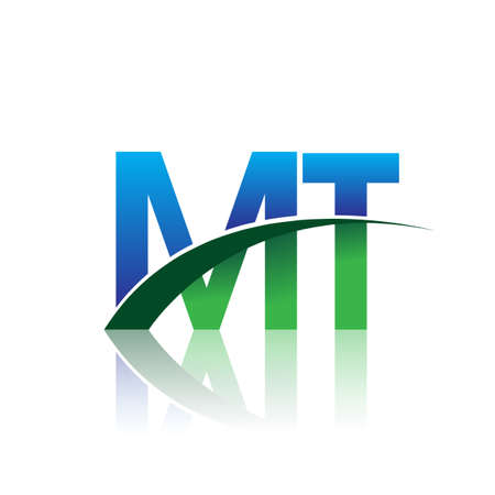 initial letter MT company name colored blue and green swoosh design. vector for business and company identity.