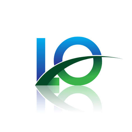 initial letter LO company name colored blue and green swoosh design. vector for business and company identity.