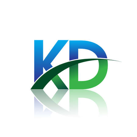 initial letter KD company name colored blue and green swoosh design. vector for business and company identity.
