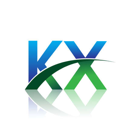 initial letter KX company name colored blue and green swoosh design. vector for business and company identity.