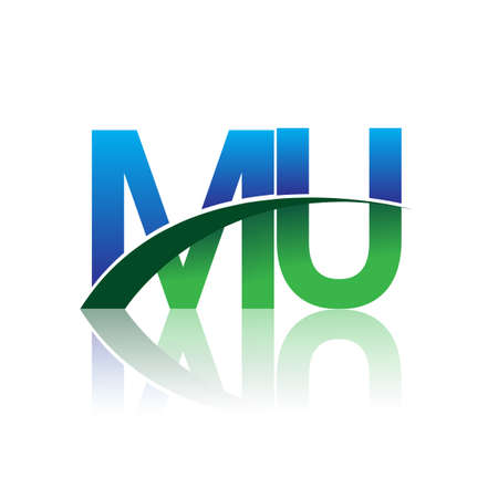 initial letter MU company name colored blue and green swoosh design. vector for business and company identity. Çizim