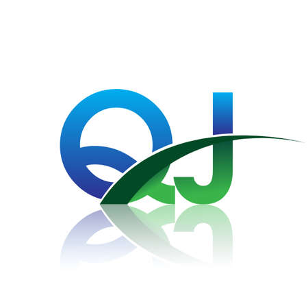 initial letter QJ company name colored blue and green swoosh design. vector for business and company identity.