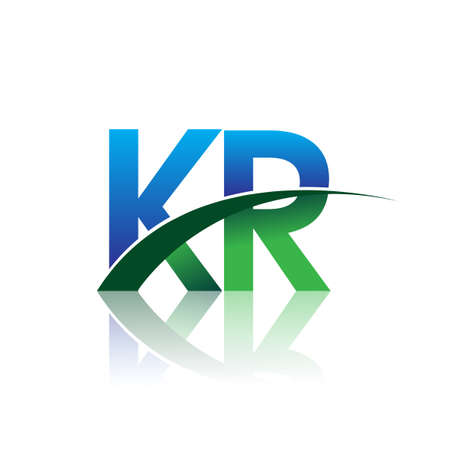 initial letter KR company name colored blue and green swoosh design. vector for business and company identity. Çizim