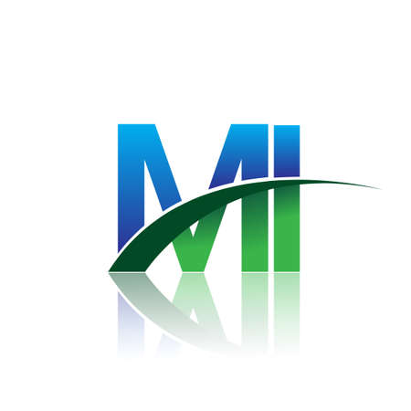 initial letter MI company name colored blue and green swoosh design. vector for business and company identity.